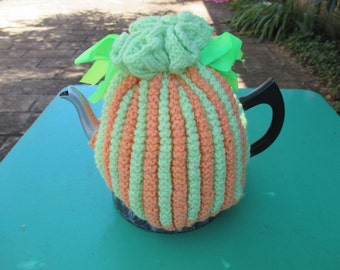 Vintage Tea Cozy - Green and Orange Stripes - Vintage Style for your teapot.