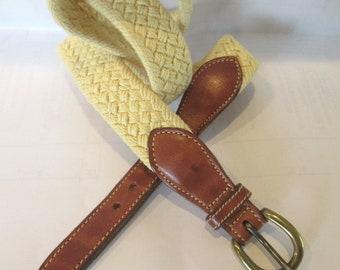 Men's Cotton Yellow Trafalgar Braided Leather Trim Belt size 36