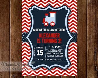 Train Invitation, Train Birthday Party, Chevron Choo Choo Train, Boy Birthday, 2nd Birthday, Train Birthday Invite, DIY Printable Party