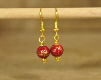 SALE! Handmade Earrings - Red/Gold Beads