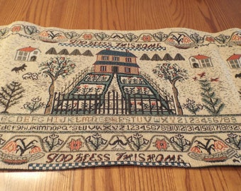 Primitive Table Runner Tapestry Style Vintage Home Decor