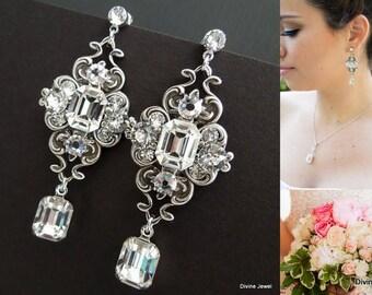 Crystal Bridal Earrings Wedding jewelry Swarovski Crystal Wedding earrings Bridal jewelry Rhinestone earrings Statement Earrings BLANCHE