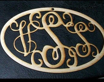 Unfinished Wood Vine Monogram Christmas Ornament 3 letter - 4 x 6 inch