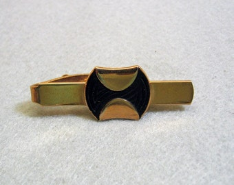 Very Cool Vintage Retro Modern Gold and Black Tie Clasp