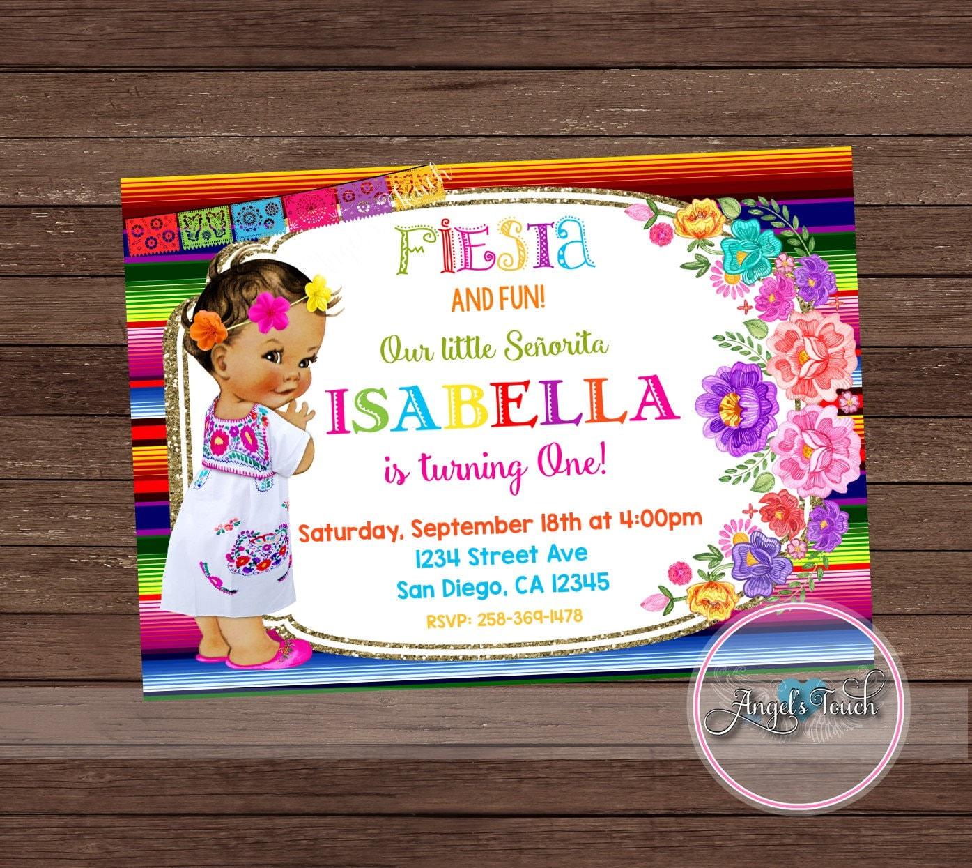 Fiesta Party Invitation, Fiesta Girl Birthday Invitation Chalk ...