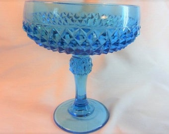 Light Blue Diamond Cut Glass Pedestal Bowl, Holiday Serving Bowl, Indiana Glass Co Diamond Compote Bowl, Blue Candy Dish, Dinning & Serving