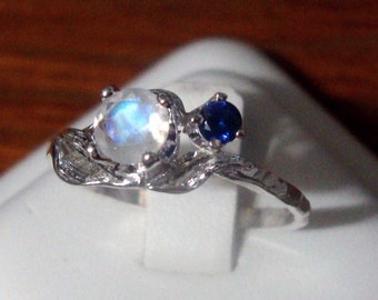 Rainbow Moonstone Ring Blue Sapphire leaf - eco-friendly sterling silver with Fair Trade Custom Made in USA in your Size - Woodland Fae