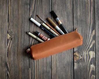 Leather Pencil Case. Handmade leather pencase. Light brown color.