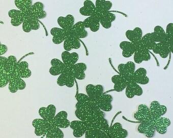 Green Glitter Shamrock Confetti, Shamrock Die Cuts, St Patricks Day Decorations, 4 leaf clover, four leaf clover, shamrock decorations
