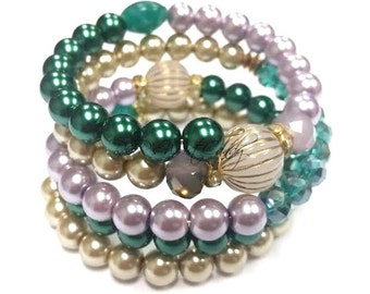 Green Beaded Bracelet, Gold, Purple Beaded Coil Bracelet Wrap Bracelet, Stretch, Handmade, Custom, Beaded Jewelry