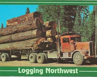 Vintage 1980s Postcard Logging Northwest Industrial Transportation Big Rig Heavy Hauling Truck Card  Photochrome Era Postally Unused