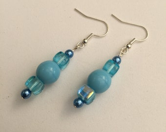 Hand Crafted Blue Beaded Earrings.