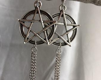 Silver Pentacle Earrings