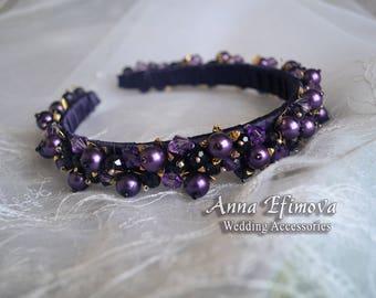 Purple tiara. Bridal crown. Bridal headband. Bridal headpiece. Wedding crown.
