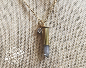 Isolde Necklace — aura quartz blue point .22 bullet shell casing, CZ crystal accent diamond, layering nashville southern glam country girl