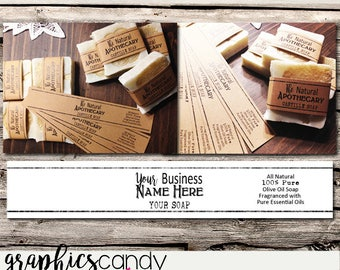 Small Natural Soap Bands - Printable - Digital File - DIY - Editable - INSTANT DOWNLOAD