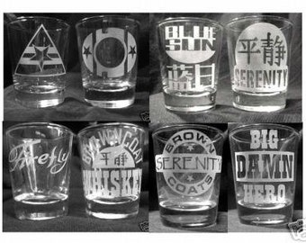 Custom Etched FIREFLY / SERENITY Shot Glasses - Set of 8!