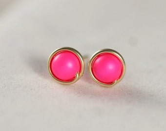 Gold Neon Pink Stud Earrings Wire Wrapped Jewelry Handmade Neon Pink Earrings Hot Pink Earrings Gold Stud Earrings Hot Pink Studs