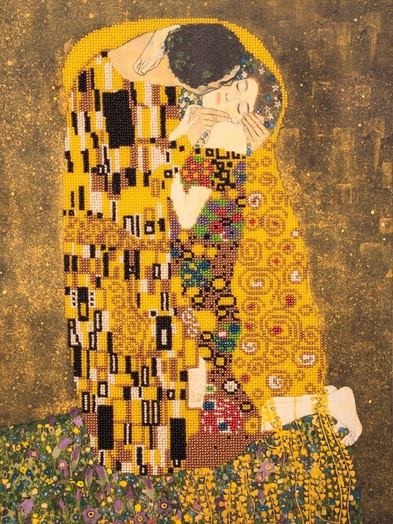 Bead embroidery kit The Kiss Gustav Klimt Needlepoint kit