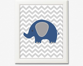 Navy and grey elephant baby boy art print - 8x10 UNFRAMED - boys art, baby boy wall art, nursery art print, elephant, navy blue and grey