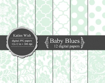 Instant Download Baby Blues Digital Paper Kit 12x12 inches 300dpi Instant Download files for digital scrapbooking, invites, web design