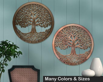 Tree of Life 16in Baltic Birch Metallic Base Wall Art w/ Optional Custom Text
