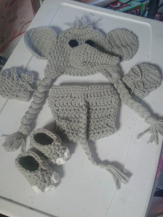 & Crochet newborn elephant costume elephant photo prop