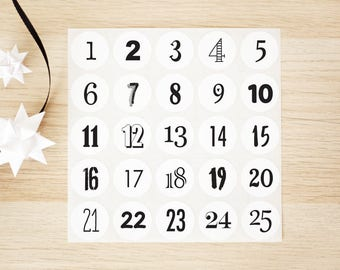 """Advent Calendar Stickers - 1"""" in Black or Red, Numbered 25 Days, December Countdown, Nordic, Scandinavian, Simple, Elegant, Monochrome"""