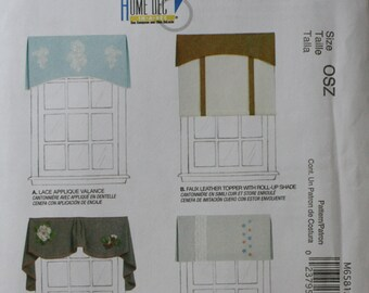 Mccall's M6581 Valance, Roll Up Shade Sewing Pattern New/Uncut