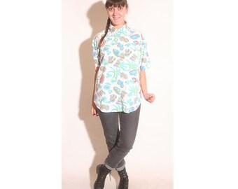 Vintage 1980s Bright Tropical Short Sleeve Button Down Pocket Venezia shirt size M/L