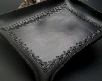 Black leather valet tray, dresser jewelry tray, nightstand catchall, black matte finish, desk tray, groomsman gift