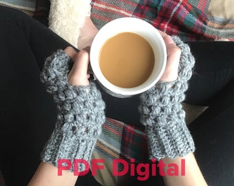 Ashlyn Gloves PATTERN, Crochet fingerless gloves pattern, Crochet fingerless mitts pattern, Wrist warmers pattern, women's gloves pattern