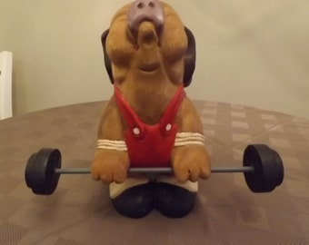 Wooden Weight Lifter Pig - Mid 90's Time Frame - Unmarked