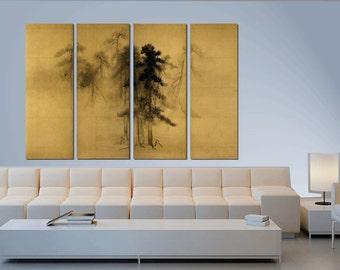 Ancient Japanese art, Japanese painting, Reproduction, Hasegawa Tohaku. Pines. Detail of the screen. Fine art. Asian art. Printed copy