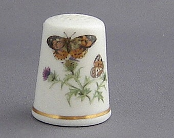 Royal Worcester Thimble - Painted Lady Butterfly