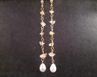 Gemstone Earrings, Citrine Nuggets and White Glass Pearls, Gold Wire Wrapped Long Dangle Earrings, FREE Shipping U.S.