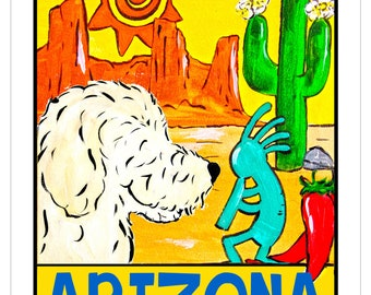 "Whimsical Goldendoodle ""A Goldendoodle State Of Mind"" 8x10 print Arizona"