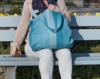 Turquoise market tote bag, carryall everyday bag, canvas stripes tote, weekender bag, reusable shopping bag, XL beach bag, large grocery bag