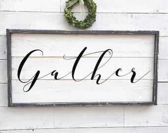 Gather sign, framed shiplap, vintage wood sign
