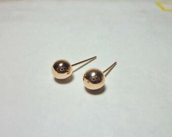 Rose Gold Ball Stud Earrings, Ball Earrings, Round Earrings