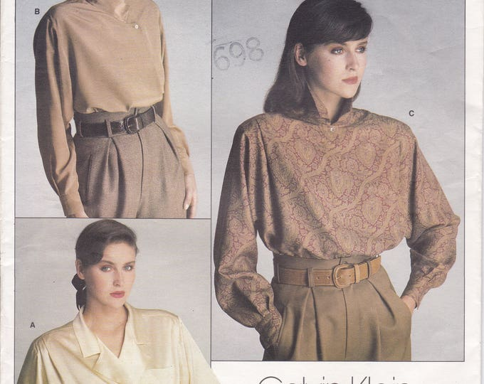 FREE US SHIP Vogue 1625 Designer Calvin Klein Sewing Pattern Uncut Size 12 Bust 34 3 Loose Fitting Blouses