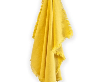 Yellow dish towels with fringe.golden yellow kitchen towels.fringed tea towel.saffron yellow.yellow kitchen decor.housewarming gift.set of 2