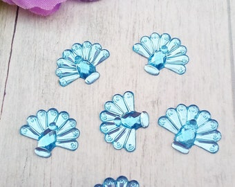 6 appliques in paste form blue Peacock acrylic