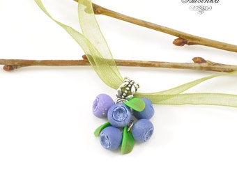 Blueberry Necklace - Berry jewelry - blueberry earrings - blueberry jewelry - forest necklace - blue jewelry - wood berry