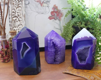 Purple Agate Polished Druzy Point - 2 to 3 lbs - Agate Home Decor - Wonder of Nature from Brazil RK87-Purple