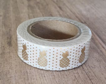 White with Gold Pineapples Foil Washi Tape 15mm x 10m