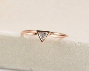 Solitaire Rose Gold Engagement Ring Promise Trillion Cut Triangle Simple Minimalist Dainty Diamond Unique Bezel Set Delicate Anniversary