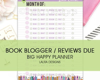 BIG Happy Planner Letter Size Book Blogger Reviews Due Tracking Insert - Printable