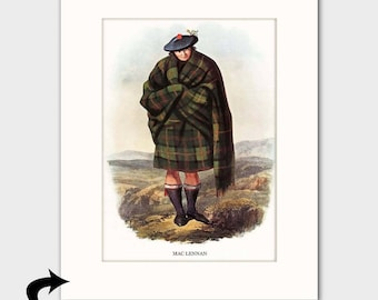 Clan MacLennan Family Art Print w/Mat (Scottish Home Decor, Victorian Highland Gift for Men) --- Matted Scotland Art