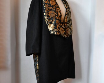 Made to Order: XS to XXXL. Brocade & Black Melton Cocoon Coat with Large Full Collar with Pockets and fully Lined